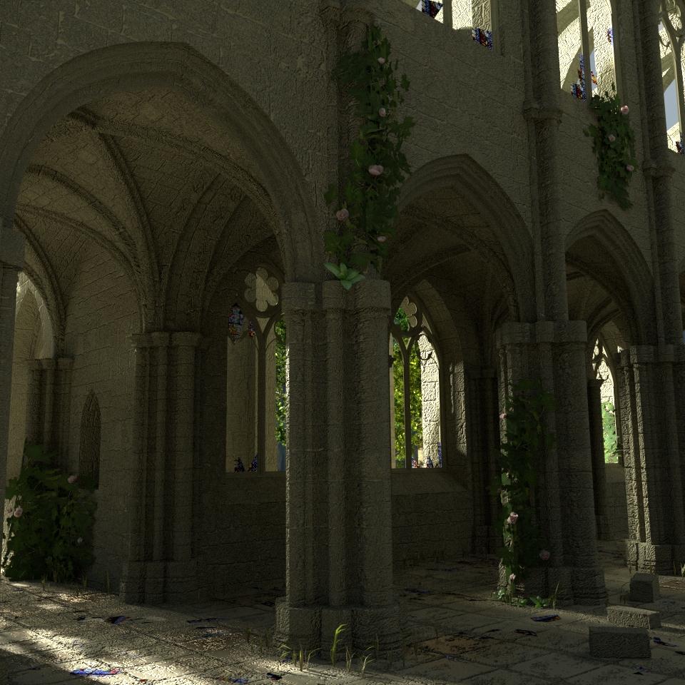 In Blender modellierte Kathedrale mit Fensterscherben