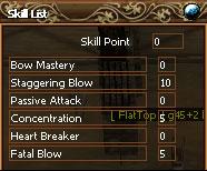 Skill-Liste beim ersten Bow-Master
