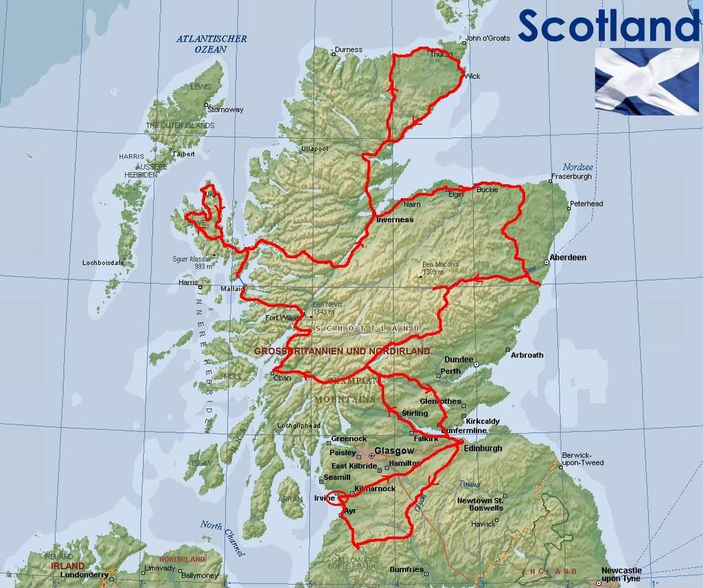 Reiseroute durch Schottland
