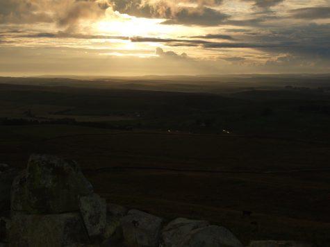 Sonnenuntergang am Hadrianswall