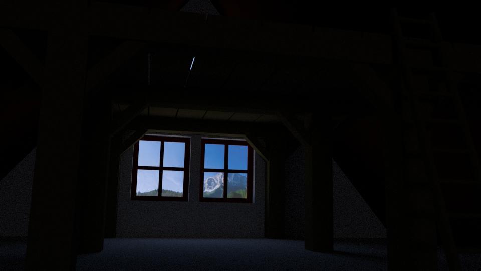 Wenn man sich auf dem Dachboden hinlegt, dann sieht man etwa das hier