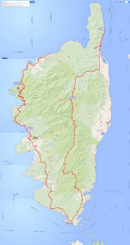 Reiseroute Korsika als Bild-Karte