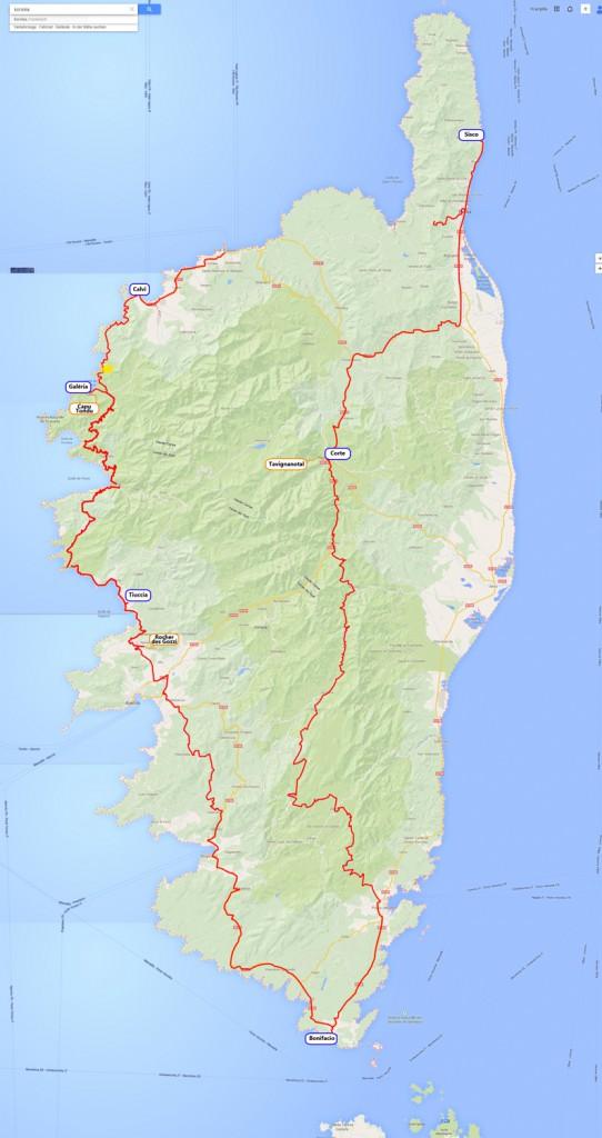 Unsere Route. Im Nordwesten angekommen, eine Tour um die Insel gemacht und im Nordosten wieder abgefahren