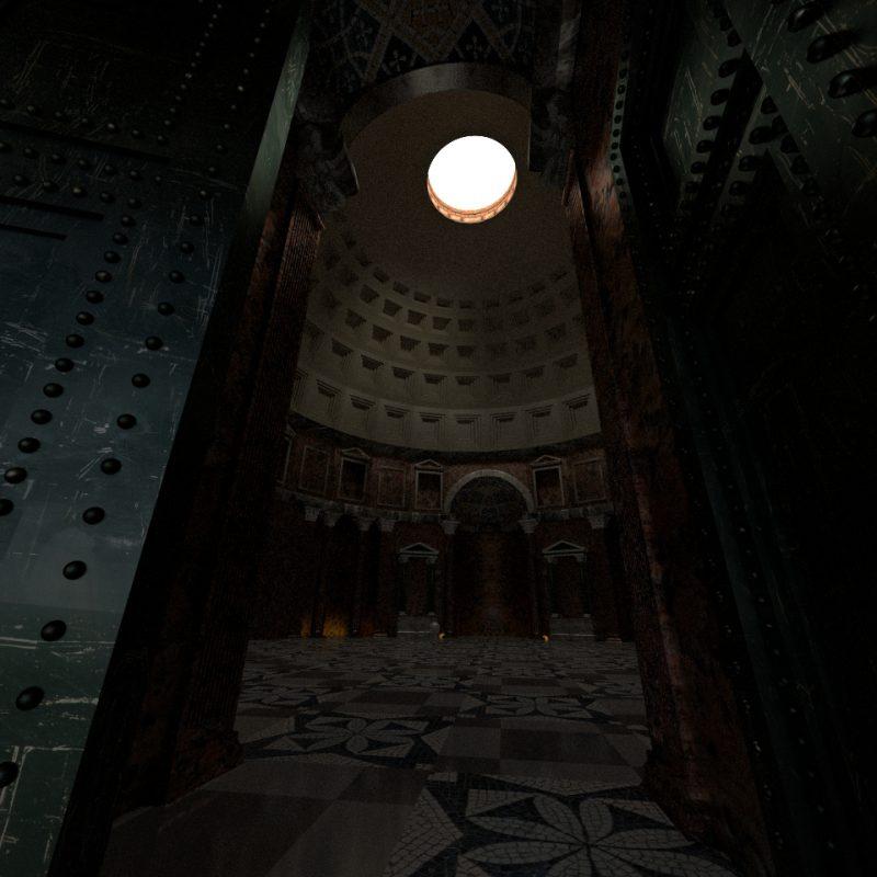 Pantheon in Rom (3D): Blick in die Rotunde vom Eingang aus