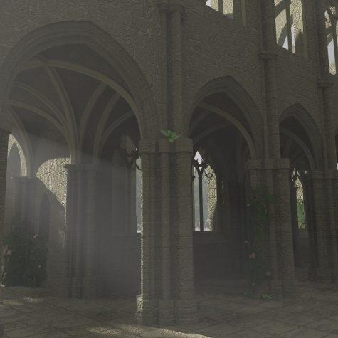3D Kathedrale mit Nebel