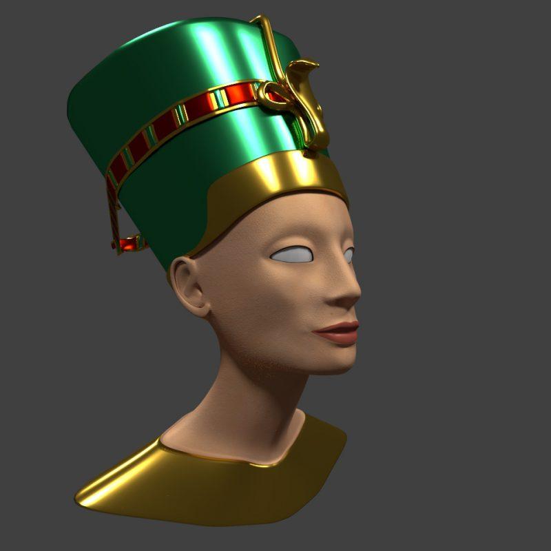 Arbeitsstand: Königin Nofretete in 3D