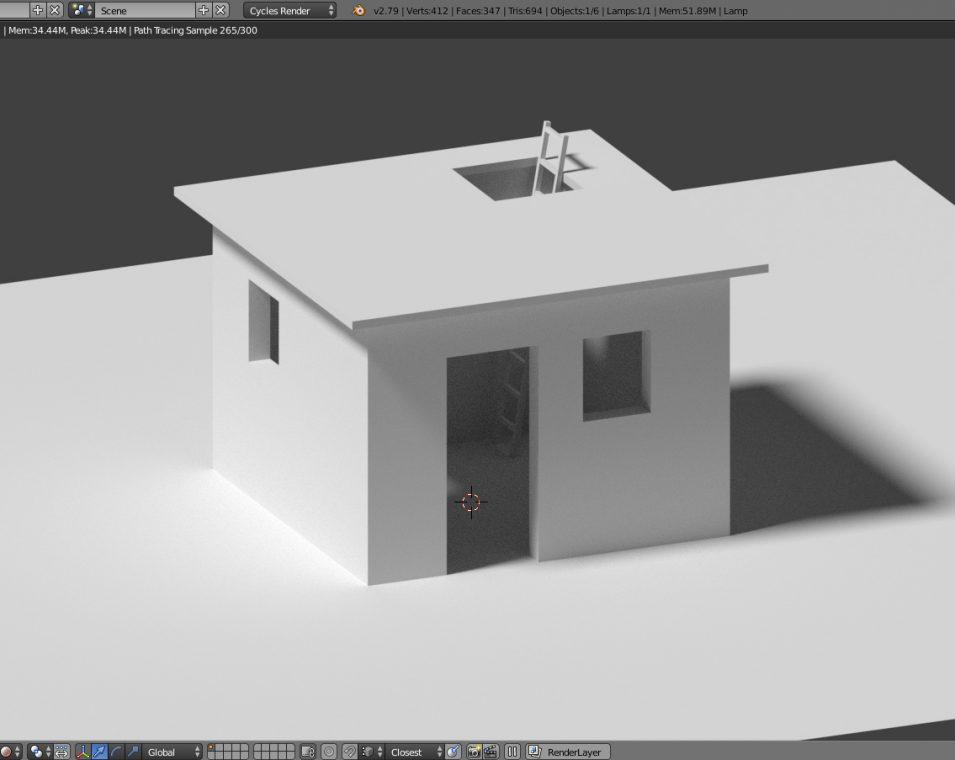 Blender 3D - einfache Hütte
