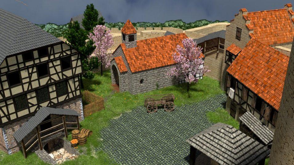 Bereits veraltet: Gras und der gepflasterte Burghof. Der Hintergrund sollte zudem nicht beachtet werden (brrrrr, ist der hässlich...)