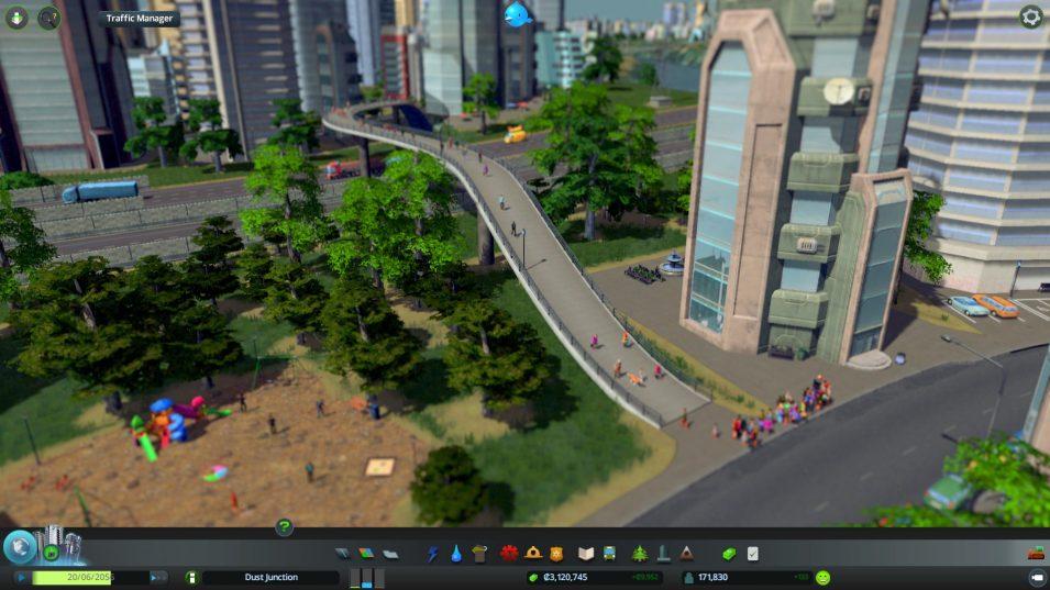Fußgänger an einer Bushaltestelle in Cities Skylines