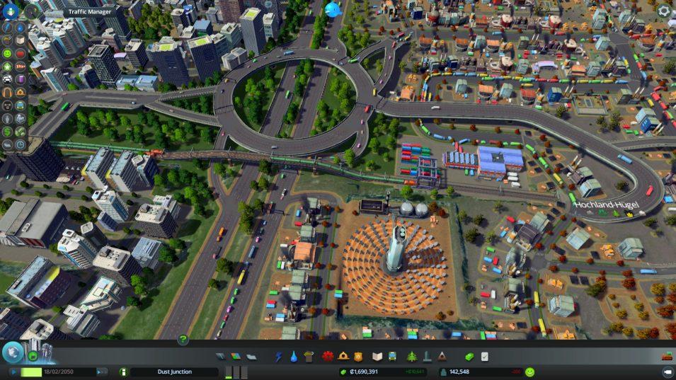 Güterbahnhöfe sind wegen des hohen Verkehrsaufkommens oft eine Herausforderung an die Planungsfähigkeit in Cities Skylines