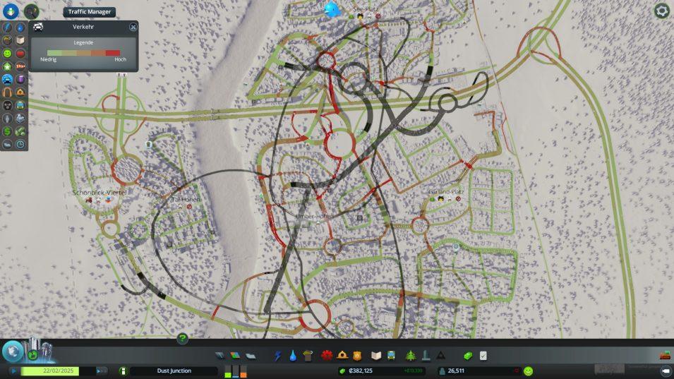 Verkehrsoverlay: Grün = wenig Verkehrsaufkommen, rot = viel Aufkommen