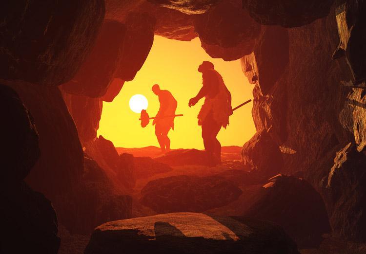 Neandertaler im Sonnenuntergang