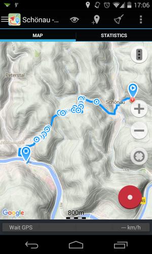 Eine fertig getrackte Strecke auf der Terrain Map