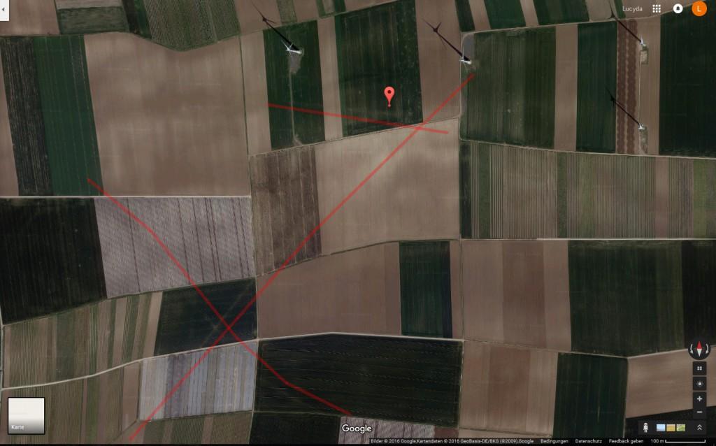 Historische Wege in der Google Maps-Satellitenansicht