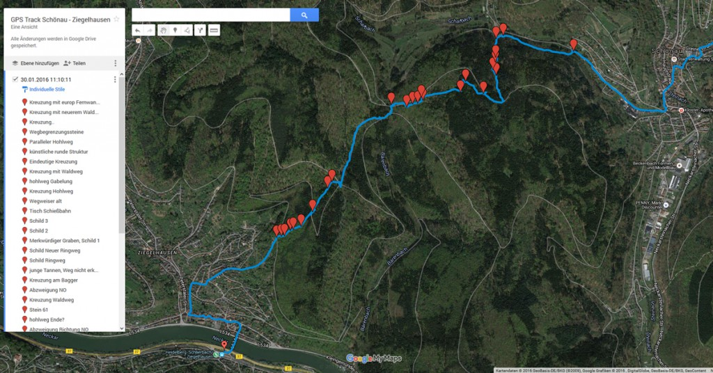 Die getrackte Route in Google Maps