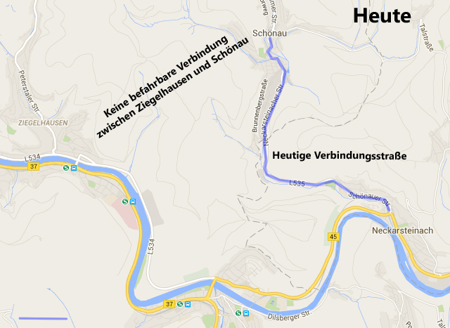 Situation Schönau im Steinachtal. Die B37 führt direkt nach Heidelberg.