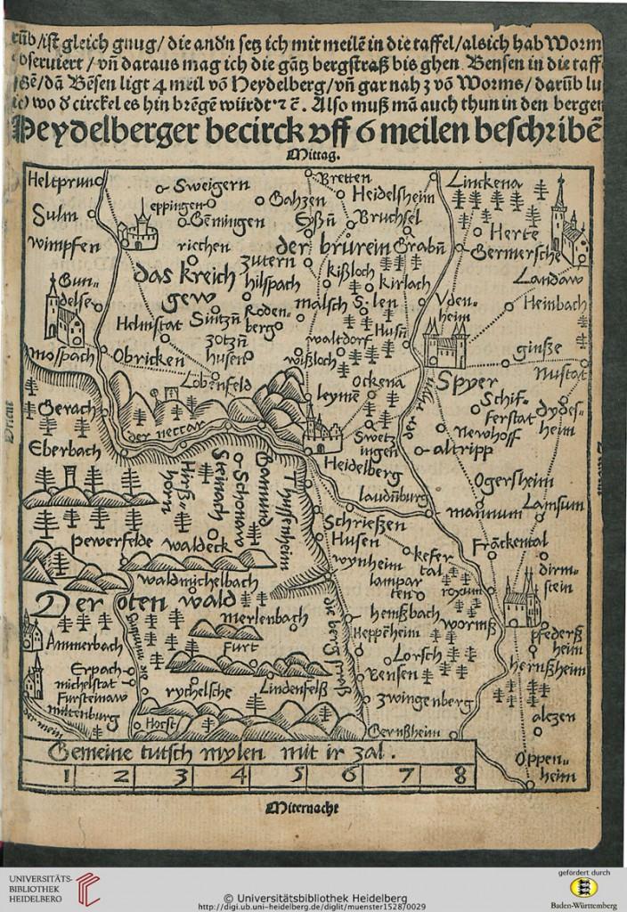 Karte der Heidelberger Region von Sebastian Münster (1528)