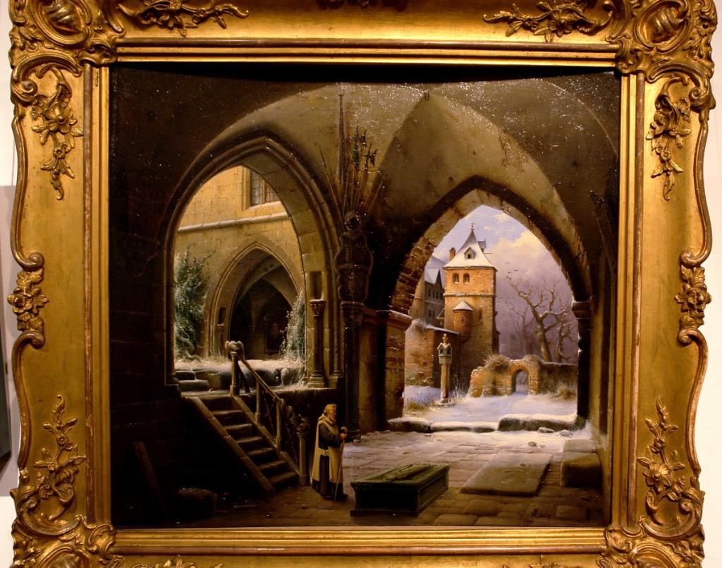 """Ausstellung """"Wilhelm Steuerwaldt"""" im Quedlingburger Schloss .. Viele seiner Bilder sind wie dieses, mit gotischen Elementen und Ausblick auf Kirche, Burg oder Ruine .. Hätte es am Liebsten mitgenommen :D Wird mir als Inspiration für Blender dienen."""