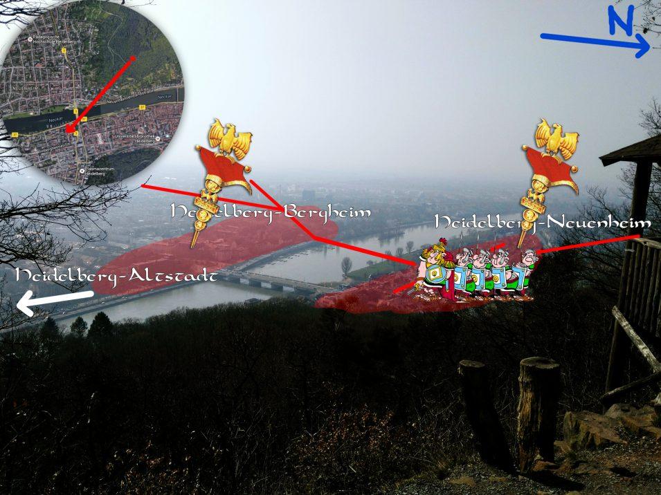 Lage der römischen Siedlung Neuenheim und Bergheim bei Heidelberg