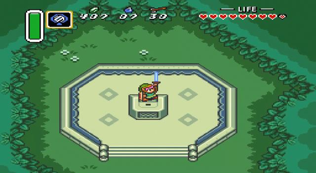 Die Szene, in der Link in den Verlorenen Wäldern das Masterschwert aus dem Stein zieht, in dem es seit Äonen ruhte :D