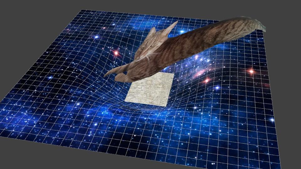 Raumzeit unmittelbar nach Ausbreitung einer Karte am Boden