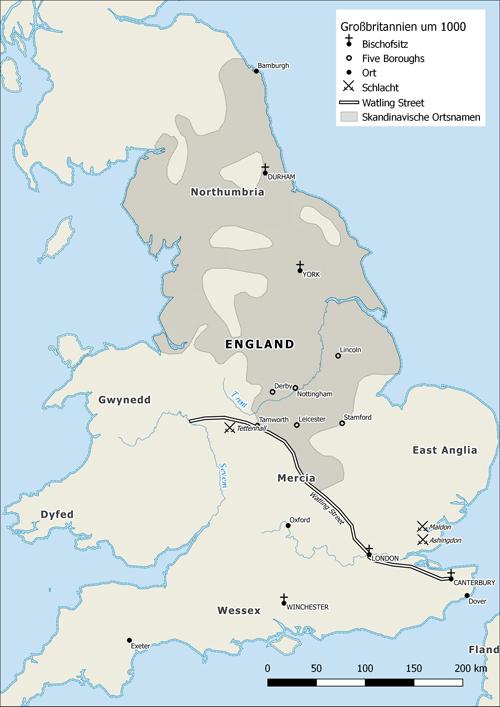 Karte Nr. 1: Soll zeigen, wo so zwischen 850 - 1020 Wikinger in England niedergelassen haben (Gott, haben die da die Sau rausgelassen.. Party all night long)