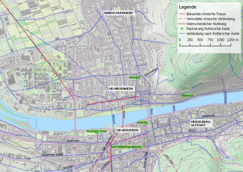 Straßen der Rothe'schen Karte übertragen auf eine moderne Karte