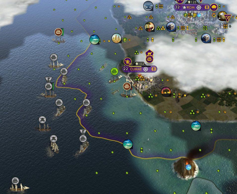 Meine Schiffe versammeln sich vor Cumae