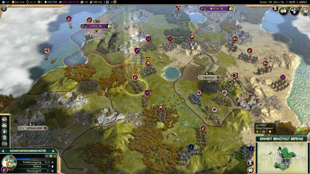 Die Römer (purpur) nehmen Aufstellung um meine frühere Stadt Neapolis (Hunnen: grau)