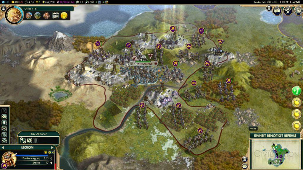 Während des Angriffs auf Attilas Hof: Oben im Norden markiert die einzelne Legion, die alles abgekriegt hat. Völlig dumm, dass die Stadtverteidiger auf diese Einheit geschossen haben - es wäre viel ärgerlicher gewesen, wenn sie sich auf meine schwach gepanzerten Fernkämpfer gestürzt hätten