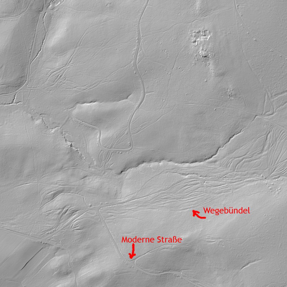 Lidar-Scan mit Spuren mehrerer mittelalterlicher Wege
