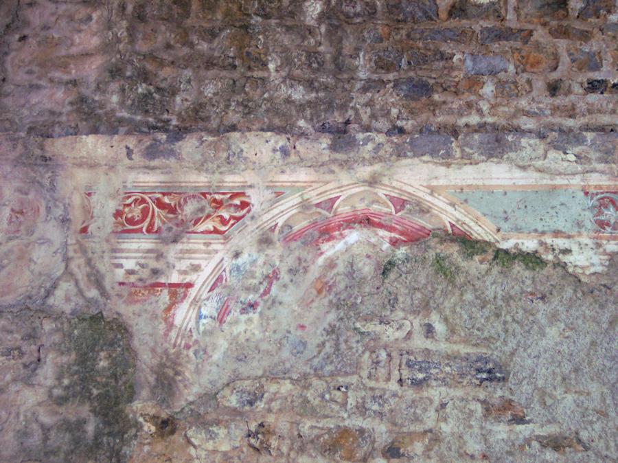 Bemalungsreste im Burgturm von Zuccarello (2004)