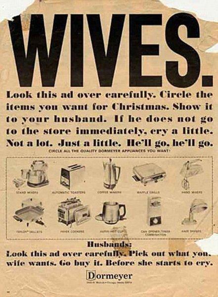 Noch einfacher für sie: Einfach Wunsch-Haushaltsgerät einkreisen und ein bisschen weinen. Und für ihn: Gerät kaufen, bevor sie weint!