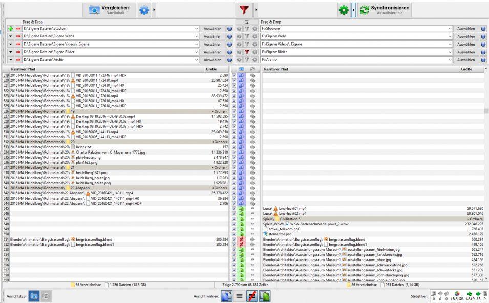 FreeFileSync: Auflistung der Daten links und rechts