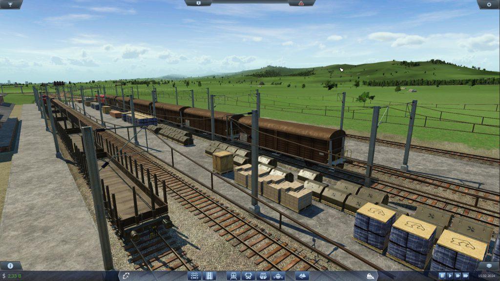 Güterzüge und Waren an einem Güterbahnhof