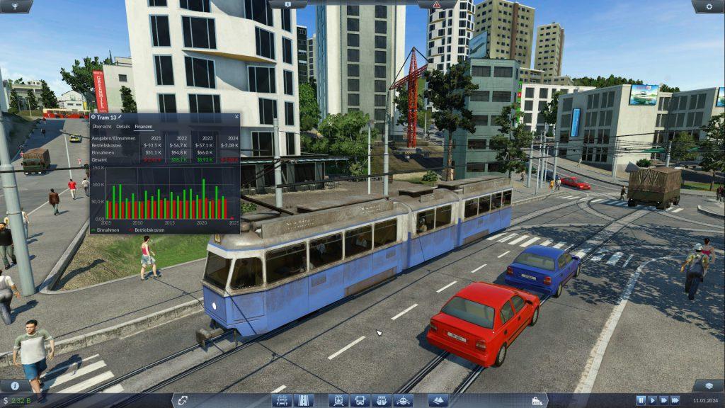 Diese Straßenbahn ist schon zu alt und ihre Betriebskosten steigen stetig