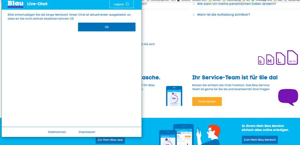 blau.de - Chat funktioniert nicht