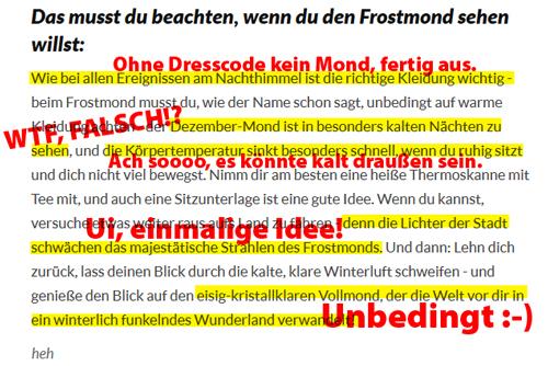 Frostmond erleben