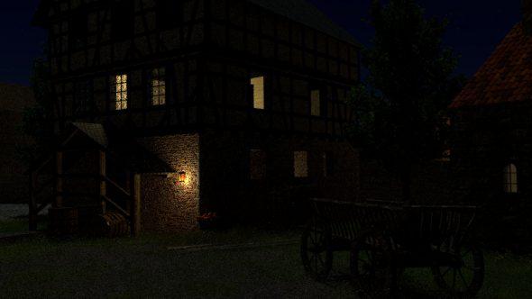 3D-Burg bei Nacht