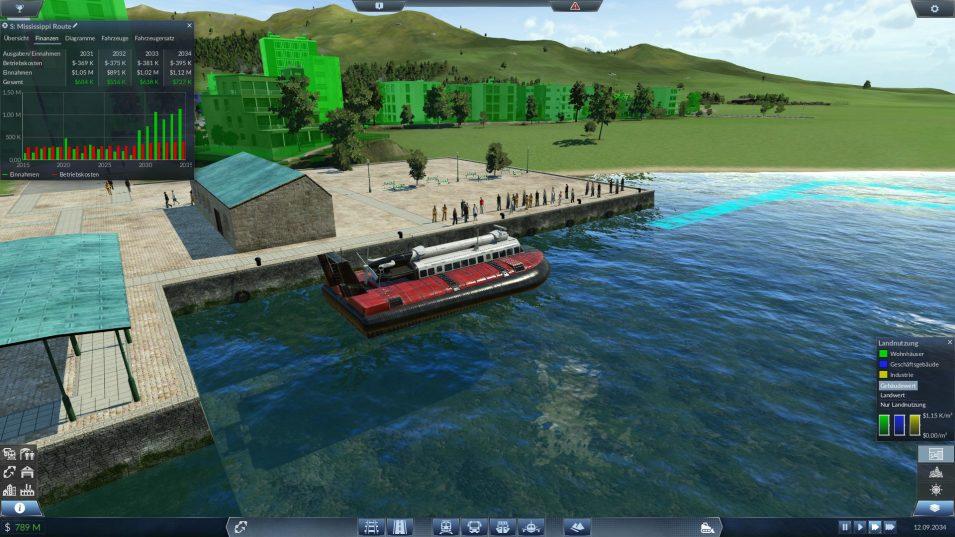 Finanzen-Fenster im Spiel nach dem Austausch von Passagierschiffen gegen Hovercrafts