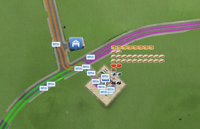 Transport Fever-Kreuzung: Verladestation mit drei Linien