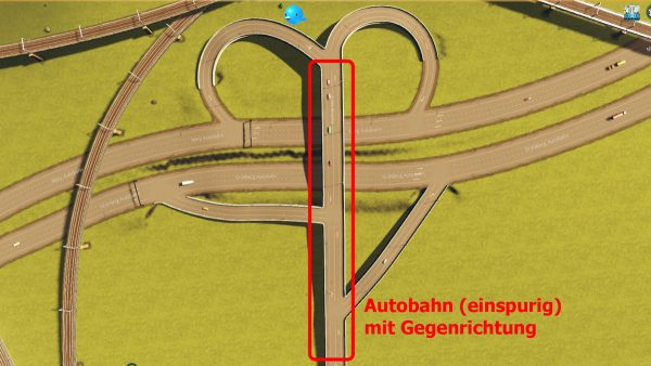 Zweispurige Autobahn an einem Autobahnkreuz