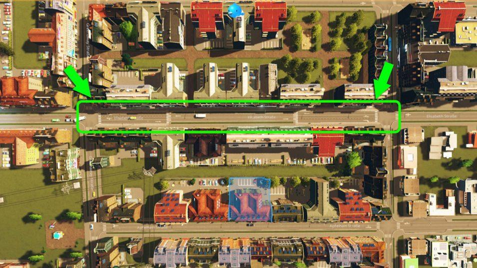 Linksabbiegespuren dank asymmetrischer Straße