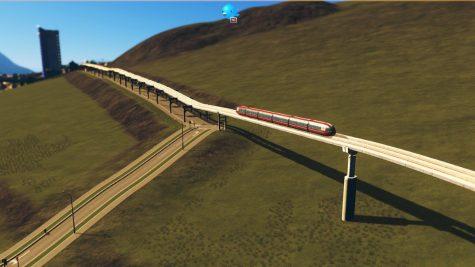 Hier treffen freie Monorail-Schienen auf Monorail-Straßenschienen
