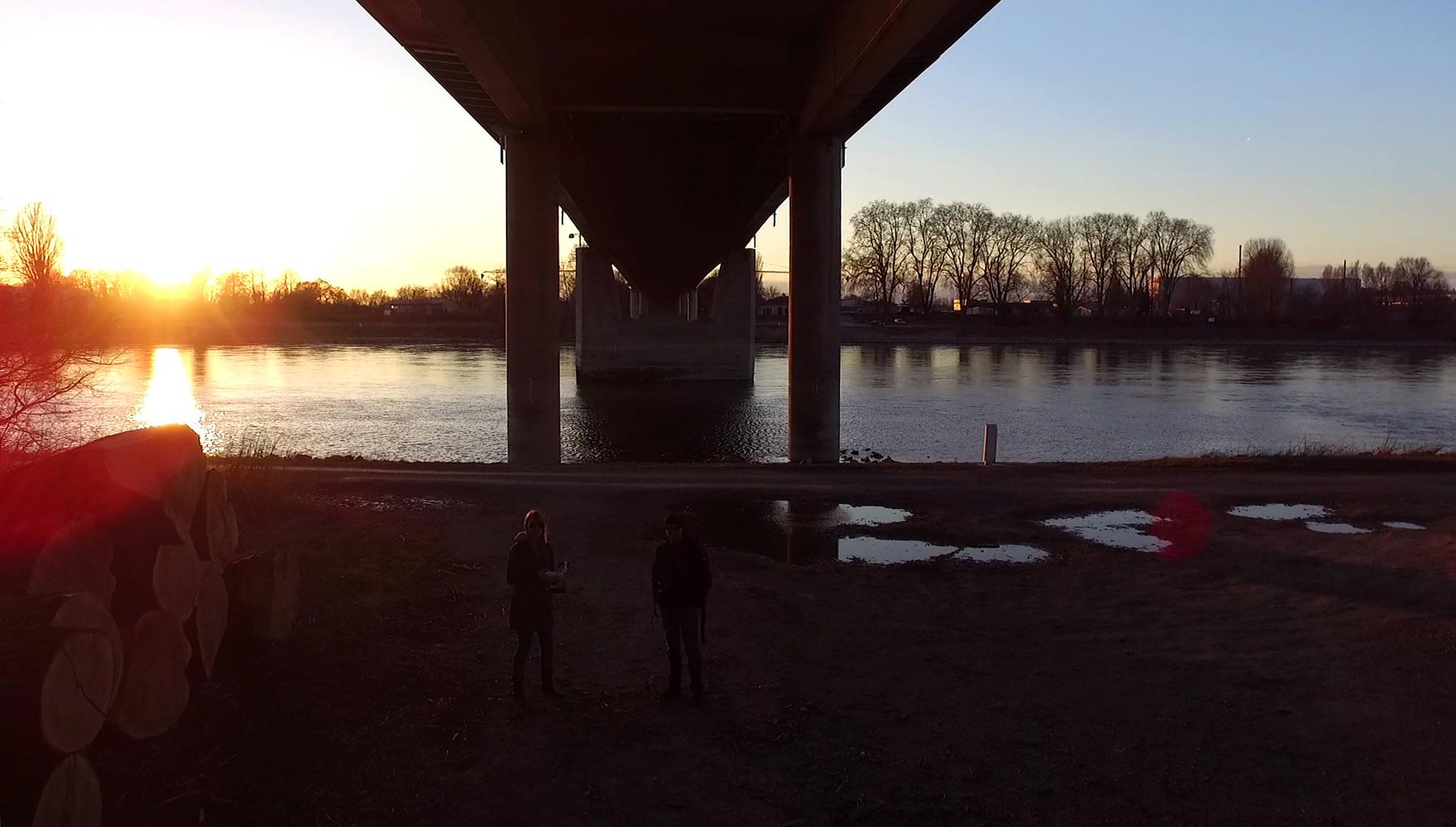 Drohnenselfie bei Sonnenuntergang