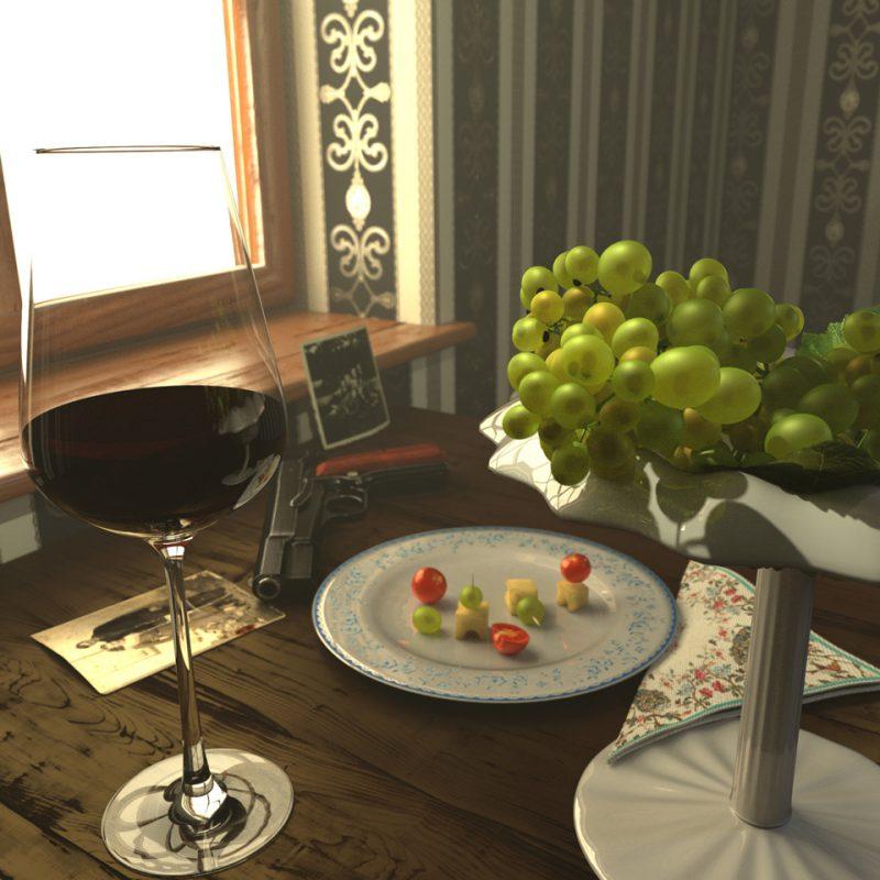 3D-Stillleben mit Weintrauben in 3D