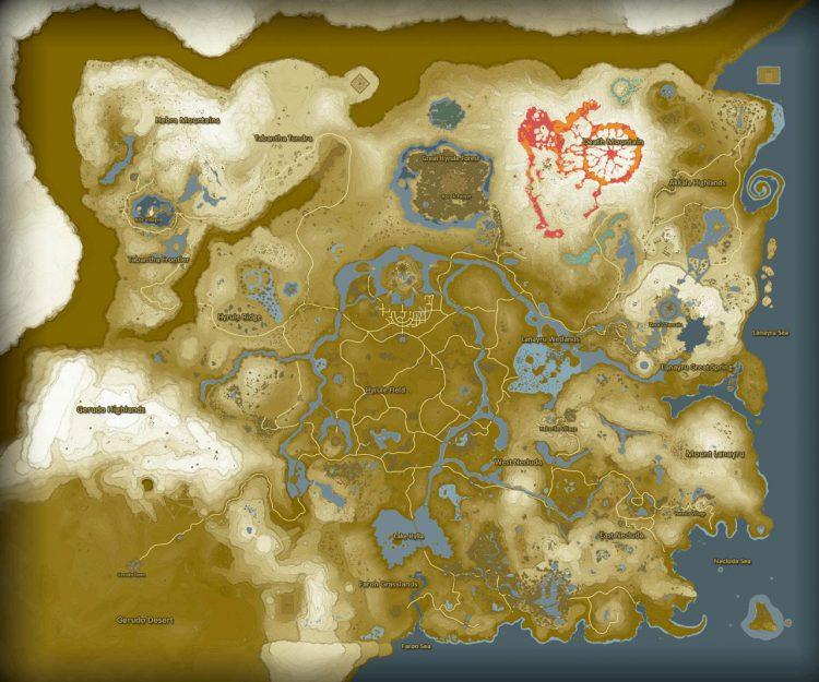 Karte von Hyrule in Breath of the Wild