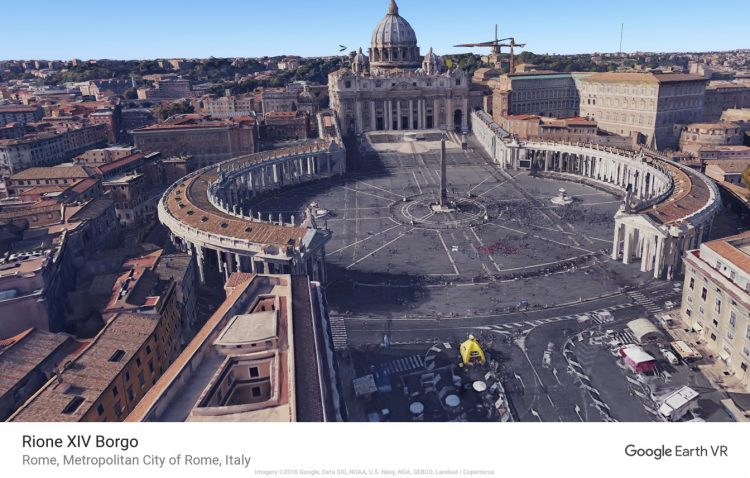 Der Petersplatz in Rom in Google Earth VR