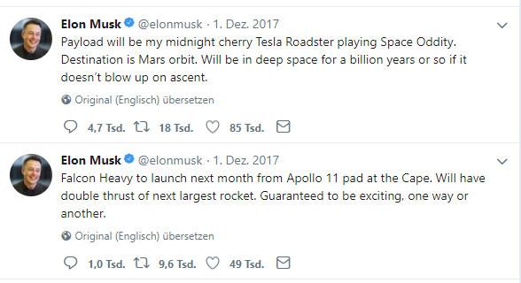 Elon Musk über die Chancen der Falcon Heavy