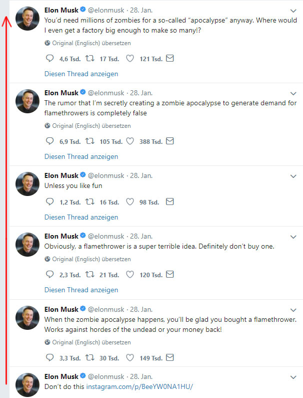Elon Musks Flammenwerfer